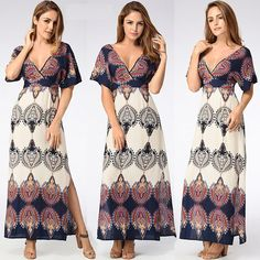 Kinikiss Women's Ethnic Boho Printed V Neck Side Split Backless Beach Maxi Long Dress at Amazon Women's Clothing store: