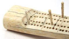 Antique handmade walrus tusk ivory cribbage board