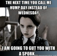 It's wednesday hump day and people are searching for happy hump memes for wednesday motivation. Check out the top 22 funny and sexy hump day memes below. Wednesday Addams, Wednesday Memes, Wednesday Motivation, Wednesday Greetings, Funny Images, Funny Pictures, Senior Humor, Weekday Quotes, Adams Family