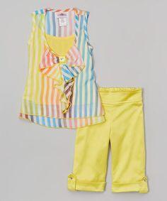 Loving this Yellow Stripe Ruffle Tank & Shorts - Toddler & Girls on #zulily! #zulilyfinds