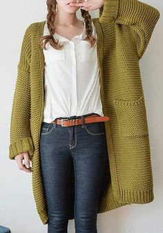 Keep yourself warm in this open front knit long cardigan. It features an open fr… Keep yourself warm in this open front knit long cardigan. It features an open front design and side patch pockets make it casul and super easy to wear. Long Knit Cardigan, Yellow Cardigan, Knit Jacket, Cotton Cardigan, Grey Sweater, Cardigan En Maille, Knit Fashion, Pulls, Hand Knitting