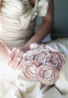 Creative Wedding Bouquets and DIY Ribbon Bouquet; so pretty, but rhinestones instead of pearls
