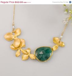 PRE HOLIDAY SALE  Raw Emerald Necklace  May Birthstone by delezhen #Delezhen #mydelezhennecklace