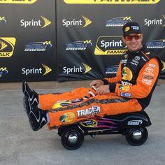 @MartinTruex_Jr speeds off on his new pedal car as he wins P1 for the #GB400 via @KansasSpeedway