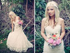 I am in love with the dress and flowers in this one - Real Wedding: Jessica + Jason's Whimsical Vintage Miami Wedding