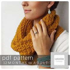 Crochet Pattern  Carter Cable Cowl/Scarf by by LakesideLoops