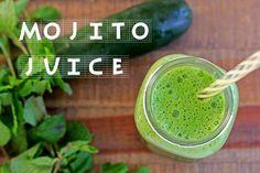 Mojito Juice  By Sonnet Lauberth  Yield: 12-16 ounces  1 cucumber 3 stalks celery handful fresh mint 2 kale leaves 1 lemon, peeled 1. Juice ingredients and enjoy!