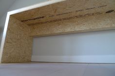 Desk made of OSB. With hollow support for storage of cables and power.