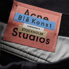 Acne Studios Airan Pleated Cotton Trousers In Black Tag Design, Label Design, Print Design, Branding Design, Textiles, Fashion Identity, Label Shapes, Clothing Packaging, Start Ups