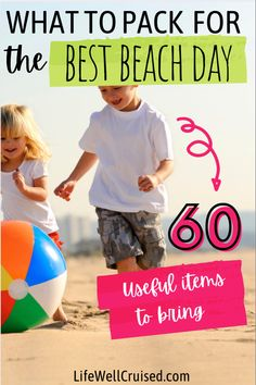 Planning a beach day or a beach vacation? Here are 60 items to pack, so you can have the perfect day at the beach with your family! Cruise Packing Tips, Vacation Packing, Cruise Travel, Cruise Vacation, Cruise Ship Reviews, Best Cruise Ships, Cruise Excursions, Cruise Port, Family Friendly Cruises