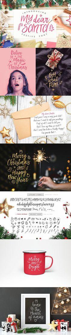'My Dear Santa' Magical Font + BONUS. Script Fonts. $10.00