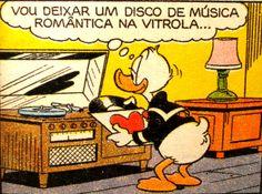 Pato Donald se prepara para um encontro romântico com Margarida, ilustração Walt Disney.