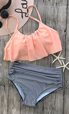 Flounce Overlay Spaghetti Straps High Waisted Bikini Set - Swim Suit Outfits - Ideas of Swim Suit Outfits - Orange Overlay Spaghetti Straps Top & High Waist Bikini Sets, Floral Bikini Set, Bikini Modells, Flounce Bikini, Sexy Bikini, Bikini Beach, Summer Bathing Suits, Girls Bathing Suits, Fashion Clothes