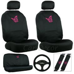 Butterfly Pink Seat Cover 11 Pc Set