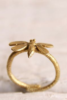 Gold plated bee ring-Bee jewelry-Insect ring-Insect jewelry