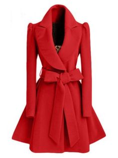 Rotita Vintage Red Fit And Flare Wool Belted Coat Look Fashion, New Fashion, Winter Fashion, Womens Fashion, Fashion Styles, Fashion Beauty, Fashion Coat, Jackets Fashion, Cheap Fashion