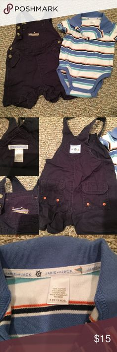 Janie and Jack overall and onesie polo Janie and Jack Navy blue cotton twill overalls with nautical boat embroidered pocket. Snap closures at the legs and buttons on the straps. Coordinating striped polo style onesie. So cute. In excellent condition - no stains, rips, damage. Pet/smoke free home. 6-12 months. Janie and Jack Matching Sets