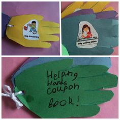 The Good Samaritan Helping Hands craft (Trace hands, decorate with chores kids can help with, hole-punch and connect with yarn!)