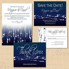 Midnight Blue Star Streamers Save the Date by BrownPaperMoon