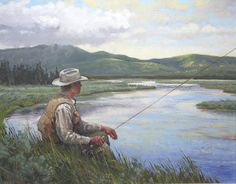 pictures of fishing paintings | Fishing Sporting Art Oil Painting ]