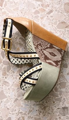tan, snakeskin, and grey platform wedges, with gold studded straps