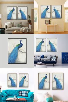 [Visit to Buy] HAOCHU Sapphire Peacock Oil Painting Canvas Fabric Wall Poster Noble Art Craft for Home Decoration Romantic Wedding Favor #Advertisement
