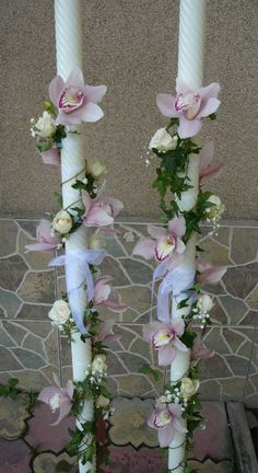 Wedding Candles By Religion Pew Decorations, Orthodox Wedding, Greek Wedding, Candels, Floral Arrangements, Diy And Crafts, Wedding Flowers, Floral Wreath, Bouquet