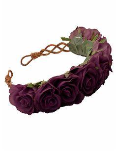 PENELOPE Oversized Floral Crown Headband in Plum @Rhi B this is niceee
