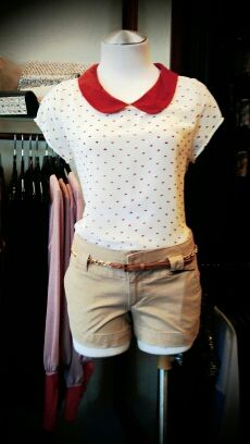 Love this printed Peter Pan collared top with khaki shorts!