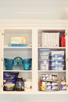 Love this medicine and vitamin cabinet!! Especially the sick caddy!  How to organize the kitchen | A Bowl Full of Lemons