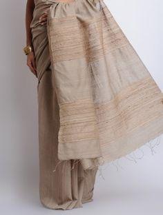 Grey Cotton Handwoven Saree