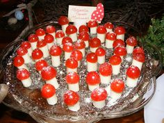 Mushrooms made from string cheese, tomatoes