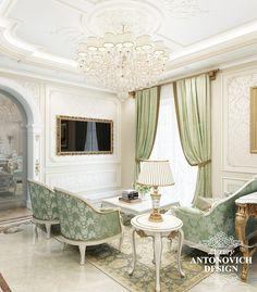 Элитный дизайн дома с красивой кухней и столовой в классическом стиле от студии дизайна Антонович Дизайн
