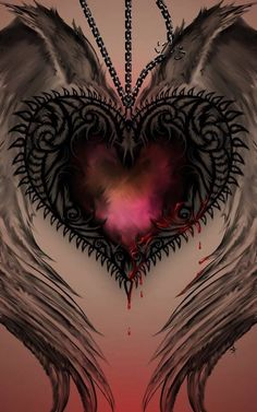 Heart with wings ~ Tattoo idea Heart With Wings, Love Heart, Heart Wings Tattoo, Broken Heart Tattoo, Arte Emo, Goth Art, Heart Wallpaper, Dark Fantasy Art, Dark Gothic Art
