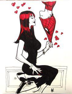 Mary Jane & Spiderman (Sketch) by Adam Hughes