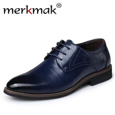 Merkmak Big Size 37-48 Oxfords Leather Men Shoes Fashion Casual Pointed Top  Formal Business 3ba9f4b5c0f1