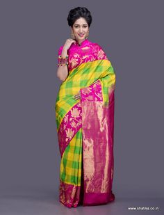 Bursting with joy, this colorful Dharmavaram saree is here to bind you with tradition just like the twines binding the golden lotuses on the border of this silk saree. Traditionally woven in the interlocked-weft technique, Dharmavaram sarees comprise of heavy pallus with exclusive designs. Broad borders adorned by brocaded gold patterns made from pure silver zari threads, our Dharmavaram silk sarees online narrate a rich folklore of Andhra Pradesh.
