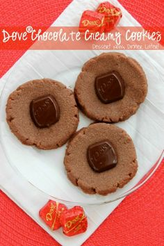 Dove® Chocolate Creamy Cookies - So delicious fresh from the oven! They are almost like a molten lava cake cookie! | DessertNowDinnerLater.com #dovedark