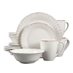 Perfect for farmhouse-style decor, the with the Country Loft Carly Dinnerware Set. Crafted of durable stoneware, the set features a uniquely shaped patterned rim, bringing a soft and rustic-chic style to your table. Farmhouse Dinnerware Sets, Rustic Dinnerware, White Dinnerware, Dinnerware Ideas, Mikasa Dinnerware, Stoneware Dinnerware Sets, Ceramic Tableware, Cream Dinner Plates, Farmhouse Style Decorating