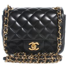 CHANEL Lambskin Square Quilted Mini Flap Black ❤ liked on Polyvore featuring bags, handbags, chanel, accessories, purses, mini handbags, man bag, faux-leather handbags, chanel purse and quilted chain purse