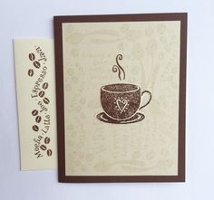 SET OF 4 Coffee Cup Blank Cards Handmade by TheConiferCabin