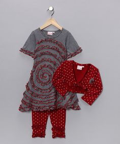 Red Swirl Rose Dress Set - Infant & Girls by 4Ever Princess £19.99 on sale (was £55.00)