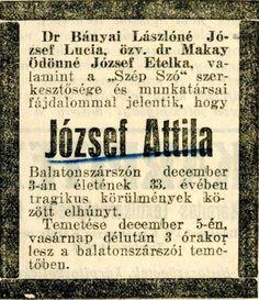 József Attila gyászközleménye