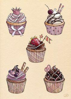 Cupcake drawing ref-bakery by Natalia Tyulkina, desenho, cupe cake, draw Cupcake Illustration, Vintage Tattoo Sleeve, Sleeve Tattoos, Cupcake Kunst, Cupcake Torte, Cupcake Tattoos, Cupcake Tattoo Designs, Cupcake Drawing, Food Drawing