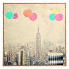 Deny Designs Maybe Sparrow Photography Balloons Over The City Framed Wall Art - 50723-FRWALA
