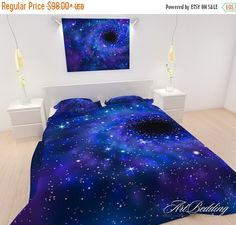 After Christmas SALE Queen Galaxy Bedding Blue by ArtBedding