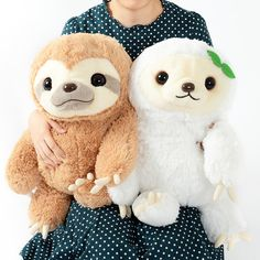 Sloths - not the most exciting of animals, but they are super cute, as you can see here in this series of adorable sleepy little creatures from cute critter masters, Amuse, Namakemono no Mikke! Meet Mikke, a brown male sloth with stripes on his face, and his friend Monoko, a cute white sloth with a little green leaf in her hair like a ribbon. This is the big size too--perfect for hugging, so you'r... #tokyootakumode #plushie