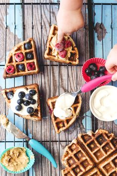 These banana blueberry waffles are a great weekend breakfast for kids. Great for BLW (baby led weaning) and contain no refined sugar