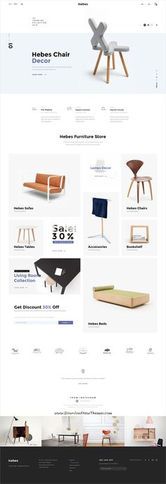 HEBES is clean, stylish and modern design PSD template for sunning interior, decor, furniture shop eCommerce website with 16 niche homepage layouts and 78 layered PSD pages to live preview & download click on Visit #onlinestore #webdevelopment