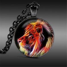 Fractal Lion Pendant Necklace Vintage Animal Wildlife Pendant Glass Jewelry for Men and Women Wholesale
